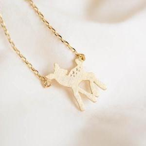 bambi necklace,deer necklace,animal..