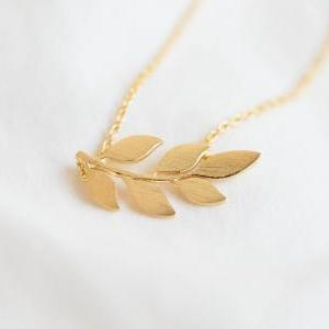 Laurel Leaf necklace, organic neckl..