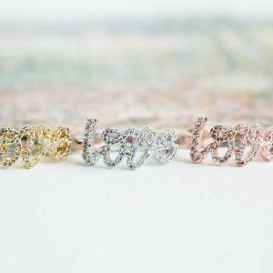 Cz love letter knuckle ring,Jewelry..