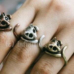 Gold Vintage cat ring,RN2597