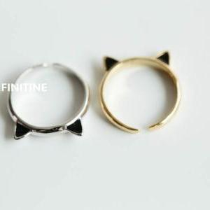 Silver Cute kitty cat adjustable kn..