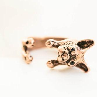 French bulldog ring,animal ring,adj..