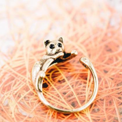 Cat tail ring,animal ring,adjustabl..