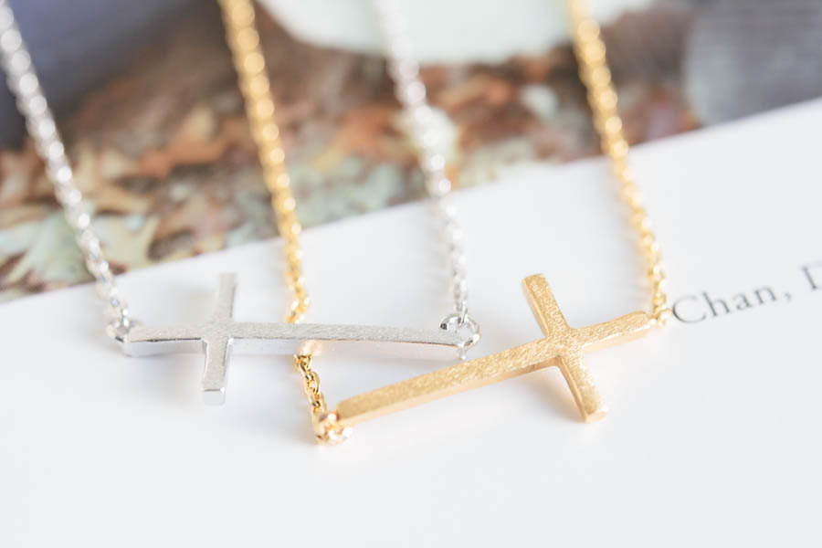 chic sideway cross necklace,sideway cross necklace,sideways cross necklace,anniversary necklace,charm necklace,mother's day necklace,N018K
