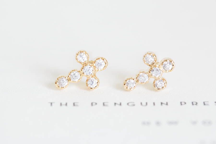 Gold Cross Earrings Silver Diamond Jewelry Cz Stud Stylish