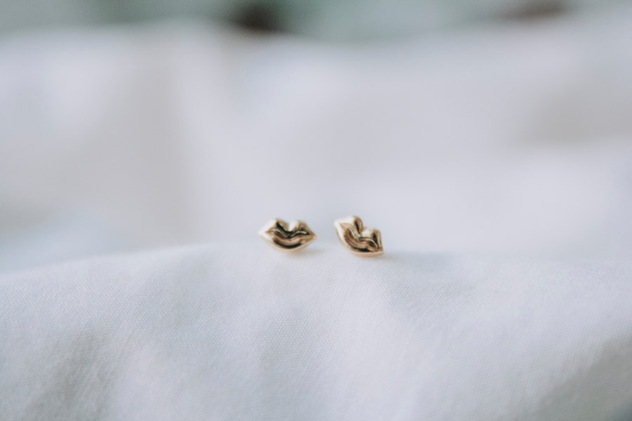 Gold Plated Lip Stud Earrings