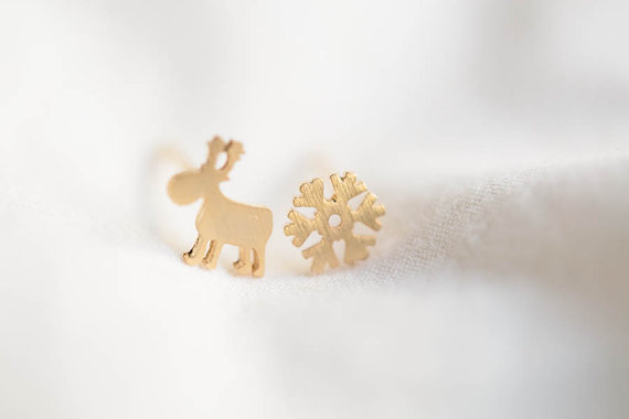 Christmas Jewelry.Deer And Snow Earrings Jewelry Earrings Christmas Jewelry Christmas Post Snowflake Studs Girls Earrings White Snow Merry Christmas E501r