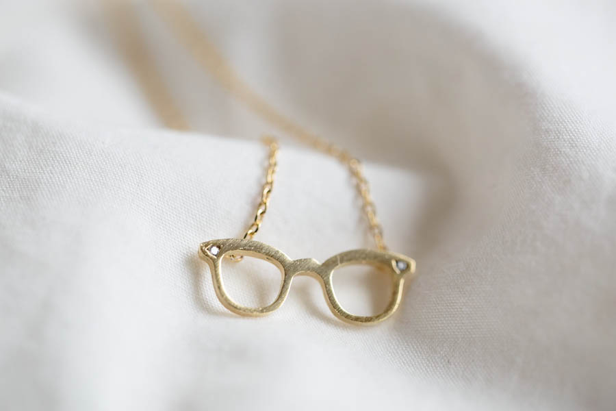 Cz glass necklace,Jewelry,Pendant,spectacles,Gift for her,fashion jewelry,specs necklace,glasses jewelry, tiny glasses,eye glasses , N160K
