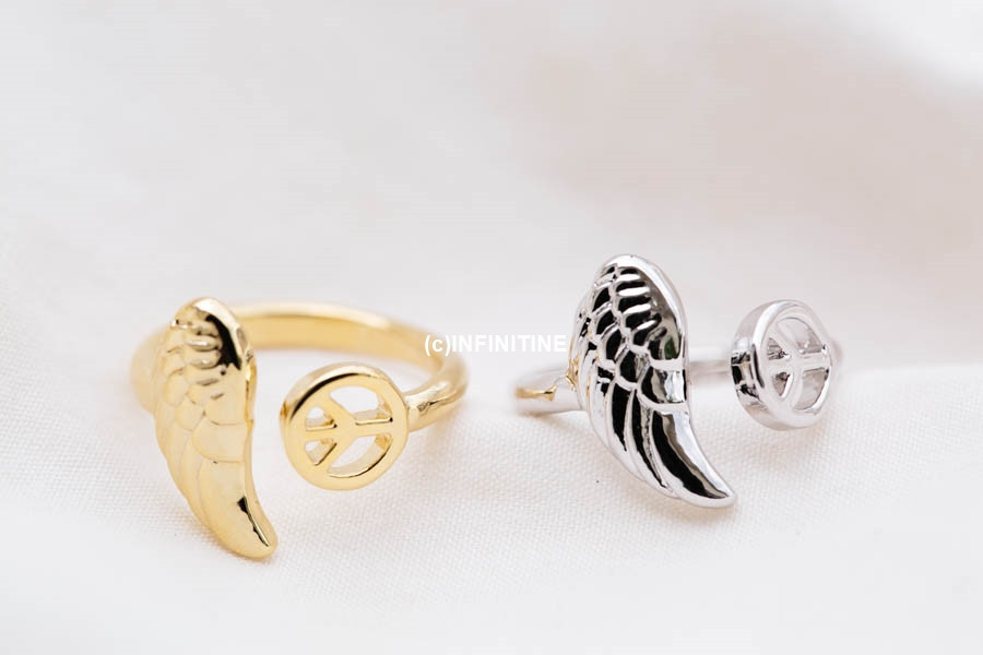 wing and peace adjustable knuckle ring,RN2545