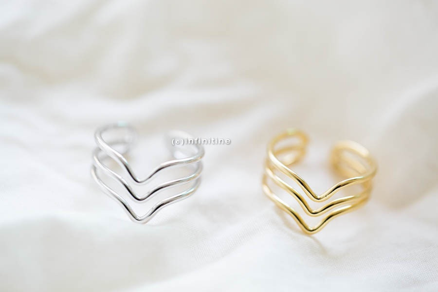 Gold Tree Line Chevron Ring thumb Rings Mid Finger Rings Gold