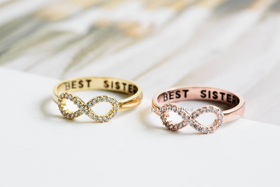 Rose Gold Best Sisters Ring Bridesmaid Gift Infinite Infinity Friendship Friend All Crystal R405n