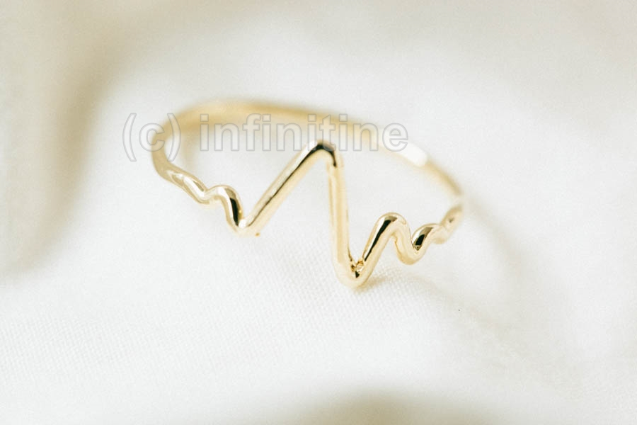 Gold Simple Stock Graph Ring,jewelry,ring,heart Ring,ECG Ring ...