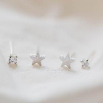 Star stud with tiny cz round earring set,Jewelry,Earrings,Studs,Post,jewelry earrings,star stud,cz round,cubic zirconia,cute star ,E102R