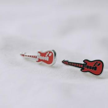 guitar earrings/guitar pick earrings/stylish earrings/white earrings/red earrings/sterling earrings/silver earrings/men earrings,E058R