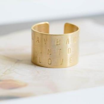 Way back into love letter ring,Jewelry,Ring,Adjustable,Unisex,Gift for him,way back into love,wedding,bridesmaid,anniversary,R419N