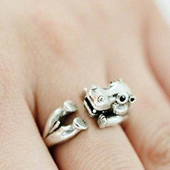 Hippo ring,animal ring,adjustable rings,,cute ring,cool ring,couple ring,mens rings,unique ring,bridesmaid gift,silver ring